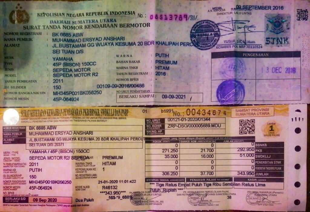 STNK, Papiere Motorrad Indonesien kaufen, Motorbike Paperwork indonesia how to buy