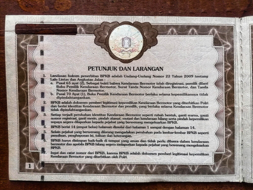 Besitzbuch, Papiere Motorrad Indonesien, Motorbike Paperwork indonesia how to buy